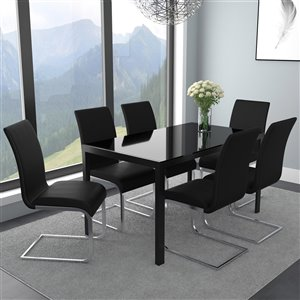 Worldwide Homefurnishings Contemporary Dining Set with Black Glass Table - Black - 7 Pcs