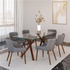 Ens. de salle à manger contemporain avec table en verre de Worldwide Homefurnishings, argent/gris, 7 morceaux