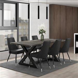 Ens. de salle à moderne rutique avec table noire de Worldwide Homefurnishings, gris/argent, 7 pièces
