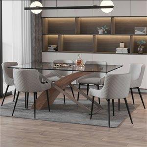 Ens. de salle à manger contemporain avec table en verre de Worldwide Homefurnishings, argent/gris, 7 pièces