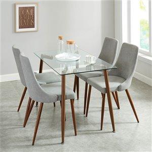 Ens. de salle à manger contemporain de Worldwide Homefurnishings, argent/gris, 5 pièces
