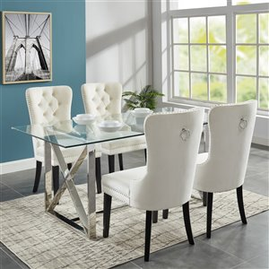 Worldwide Homefurnishings Contemporary Dining Set with Glass Table - Almond/Cream/Beige - 5 Pcs