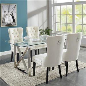 Ens. de salle à manger contemporain avec table en verre de Worldwide Homefurnishings, amande/crème/beige, 5 pièces