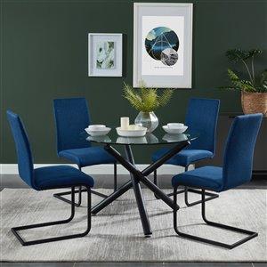 Ens. de salle à manger contemporain de Worldwide Homefurnishings avec table en verre, bleu, 5 pièces