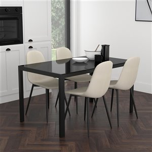 Worldwide Homefurnishings Contemporary Dining Set with Black Glass Table - Cream/Beige/Almond - 5 Pcs