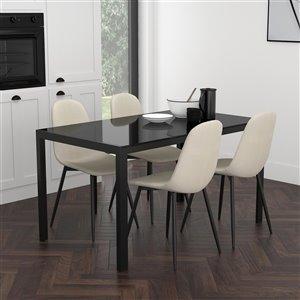 Ens. de salle à manger contemporain avec table en verre noir de Worldwide Homefurnishings, crème/beige/amande, 5 pièces