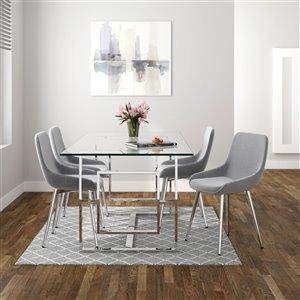 Ensemble de salle à manger contemporain de Worldwide Homefurnishings avec table en verre, argent/gris, 5 pièces