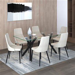 Ens. de salle à manger contemporain avec table en verre de Worldwide Homefurnishings, crème/amande/beige, 7 pièces