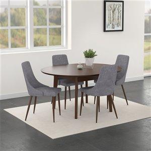 Ens. de salle à manger moderne de mi-siecle de Worldwide Homefurnishings avec table en noyer, argent/gris, 5 pièces