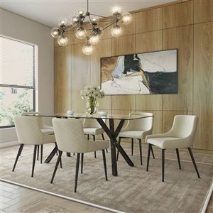 Worldwide Homefurnishings Contemporary Dining Set with Glass Table - Beige/Cream/Almond - 7 Pieces