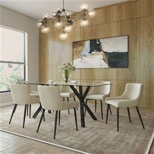 Ens. de salle à manger contemporain avec table en verre de Worldwide Homefurnishings, beige/crème/amande, 7 morceaux