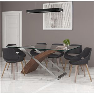 Worldwide Homefurnishings Contemporary Dining Set with Glass Table - Gray/Silver - 7 Pcs
