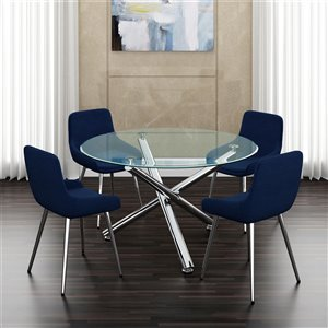 Worldwide Homefurnishings Contemporary Dining Set with Glass Table - Blue - 5 Pieces