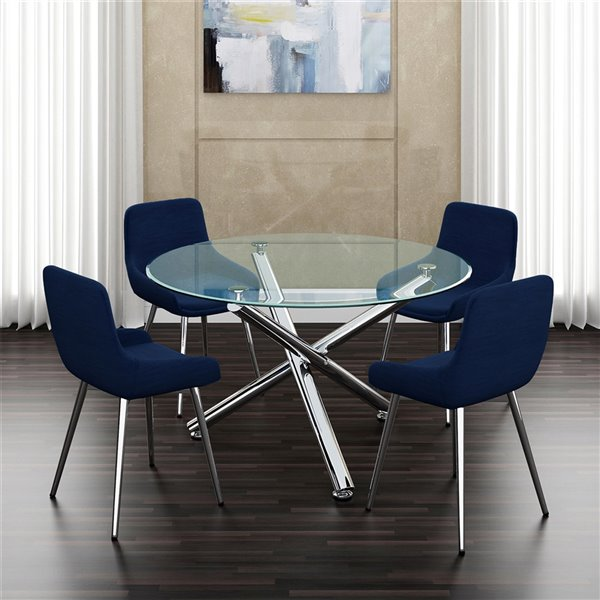 Ens. de salle à manger contemporain de Worldwide Homefurnishings, table en verre, bleu, 5 pièces