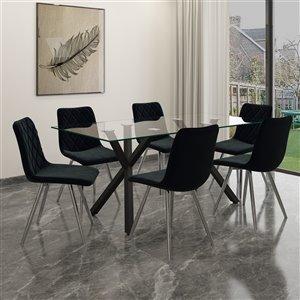 Ens. de salle à manger contemporain avec table en verre de Worldwide Homefurnishings, noir, 7 pièces