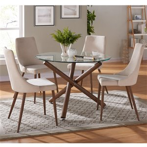 Worldwide Homefurnishings Mid-Century Dining Set with Glass Table - Cream/Beige/Almond - 5 Pcs