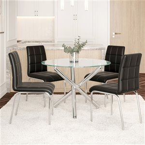 Worldwide Homefurnishings Contemporary Dining Set with Glass Table - Black - 5 Pcs