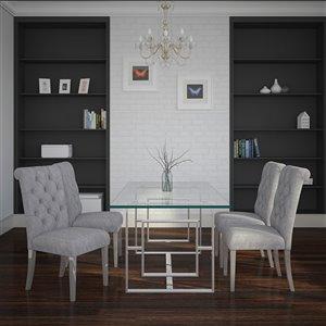 Ensemble de salle à manger contemporain de Worldwide Homefurnishings avec table en verre, gris/argent, 5 mcx