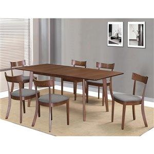 Ens. de salle à manger moderne de mi-siecle de Worldwide Homefurnishings avec table en noyer, gris/argent, 7 pièces