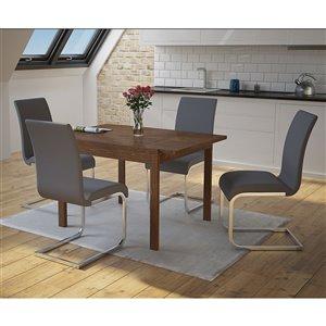 Ens. de salle à manger moderne de mi-siecle avec table en noyer de Worldwide Homefurnishings, argent/gris, 5 morceaux