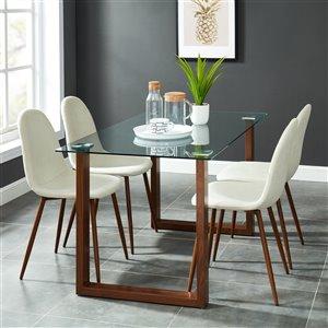 Ens. de salle à manger contemporain avec table en verre de Worldwide Homefurnishings, crème/amande/beige, 5 pièces