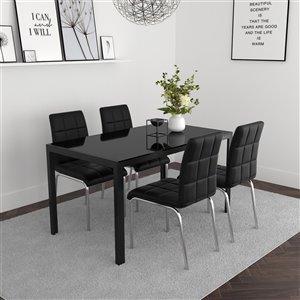 Ens. de salle à manger contemporain avec table en verre noir de Worldwide Homefurnishings, noir, 5 pièces