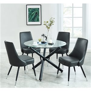 Worldwide Homefurnishings Contemporary Dining Set - Glass Table - Gray/Silver - 5 Pcs