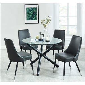 Ens. de salle à manger contemporain de Worldwide Homefurnishings avec table en verre, gris/argent, 5 morceaux