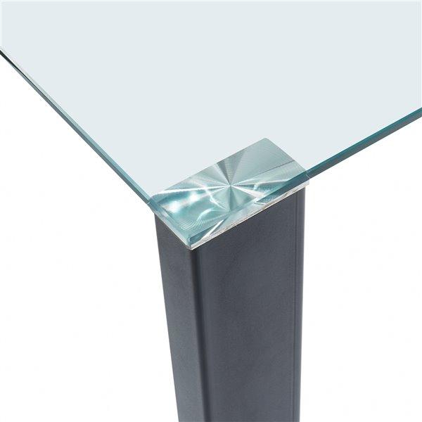 Ens. de salle à manger contemporain avec table en verre de Worldwide Homefurnishings, crème/beige/amande, 5 pièces