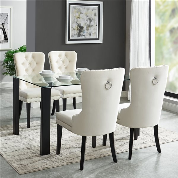 Glass Table Cream Beige Almond, Cream Colored Dining Table And Chairs
