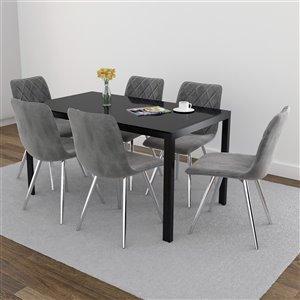 Ens. de salle à manger contemporain avec table en verre noir de Worldwide Homefurnishings, gris/argent, 7 pièces