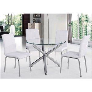 Ens. de salle à manger contemporain de Worldwide Homefurnishings avec table en verre, blanc, 5 pièces