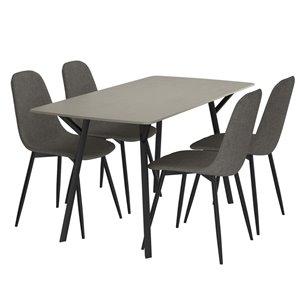 Ens. de salle à manger moderne de mi-siecle avec table grise de Worldwide Homefurnishings, gris/argent, 5 pièces