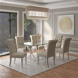 Worldwide Homefurnishings Contemporary Dining Set with Glass Table - Almond/Beige/Cream - 5 Pcs