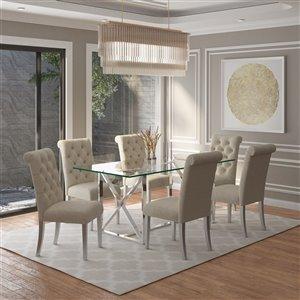 Ens. de salle à manger contemporain avec table en verre de Worldwide Homefurnishings, amande/beige/crème, 5 pièces