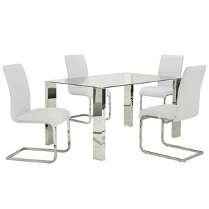 Worldwide Homefurnishings Contemporary Dining Set with Glass Table - White - 5 Pcs