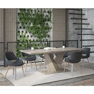 Worldwide Homefurnishings Rustic Modern Dining Set with Oak Table - Gray/Silver - 7 Pcs
