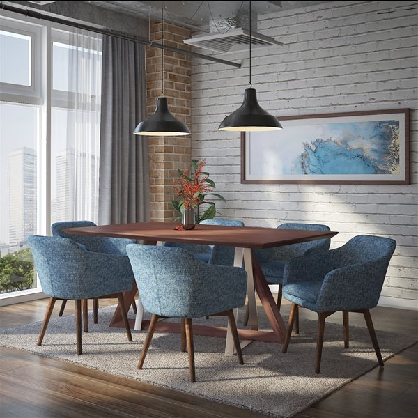 Ens. de salle à manger contemporain avec table en noyer de Worldwide Homefurnishings, bleu, 7 pièces