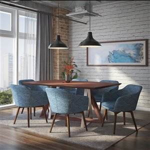 Ens. de salle à manger contemporain avec table en noyer de Worldwide Homefurnishings, bleu, 7 pièces