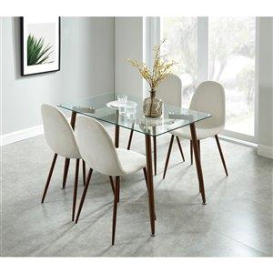 Ens. de salle à manger contemporain de Worldwide Homefurnishings, crème/beige/amande, 5 pièces