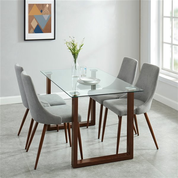 Worldwide Homefurnishings Contemporary Dining Set with Glass Table/Walnut Legs - Gray/Silver - 5 Pcs