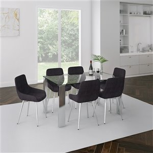 Worldwide Homefurnishings Contemporary Dining Set with Glass Table - Black - 7 Pcs