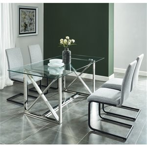 Worldwide Homefurnishings Contemporary Dining Set and Glass Table - Gray/Silver - 5 Pcs