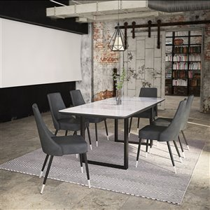 Worldwide Homefurnishings Contemporary Dining Set with Black Table - Gray/Silver - 7 Pcs