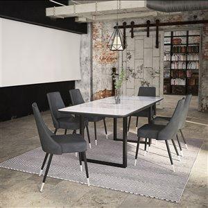 Ens. de salle à manger contemporain avec table noire de Worldwide Homefurnishings, gris/argent, 7 pièces