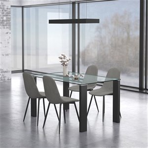 Worldwide Homefurnishings Contemporary Dining Set with Glass Table - Gray/Silver - 5 Pcs