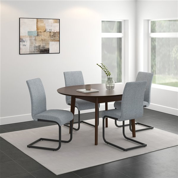 Worldwide Homefurnishings Mid-Century Dining Set with Walnut Table - Gray/Silver - 5 Pcs