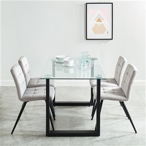 Worldwide Homefurnishings  Contemporary Dining Set and Glass Table/Chrome Legs - Silver/Gray - 5 Pcs