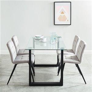 Ensemble de salle à manger contemporain avec table en verre de Worldwide Homefurnishings, gris/argent, 5 pièces
