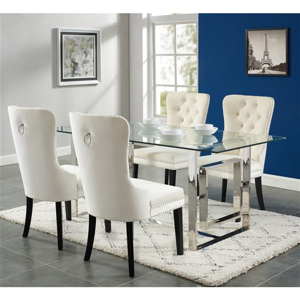 Worldwide Homefurnishings Contemporary Dining Set with Glass Table - Cream/Beige/Almond - 5 Pieces